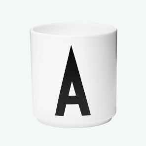 Design Letters Cup A - weiss - AJ Design Becher H. 8,5cm